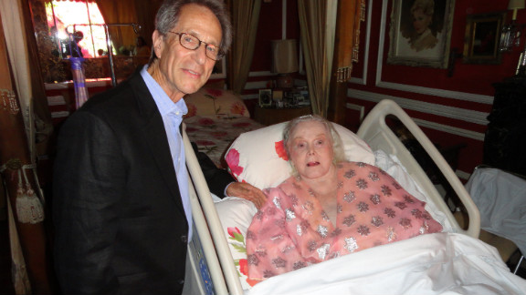 Judge Charles Rubin congratulates Zsa Zsa Gabor for her silver wedding anniversary at her house in Los Angeles in 2011.