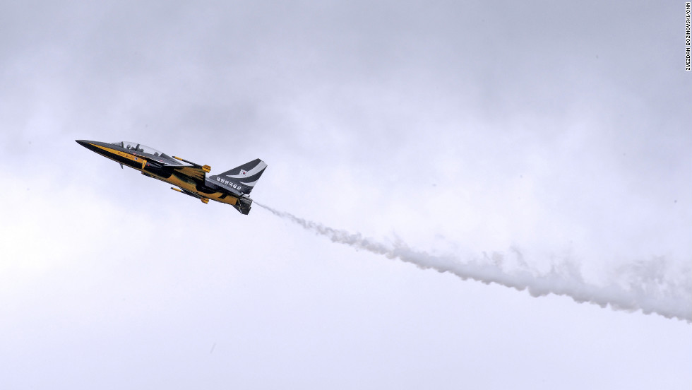 The Black Eagles (modified T-50Bs), formally known as the Republic of Korea Air Force Aerobatic Team, show off their skills at Farnborough this week. They are the only Asian-developed aircraft present at the aviation event.
