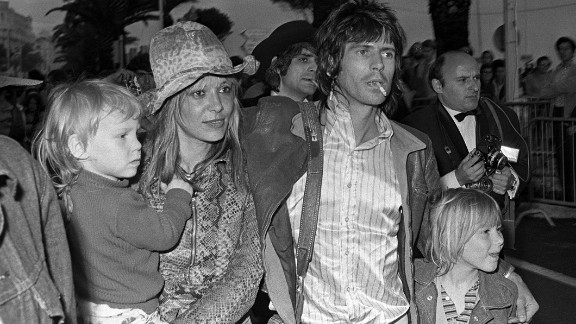Keith Richards with girlfriend  Anita Pallenberg and their two children at the Cannes Film Festival in 1971. Italian model Anita orginally dated Brian Jones before becoming Keith