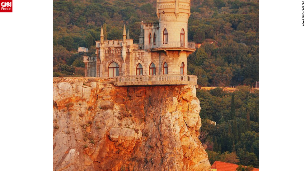 "iReporter Craig Smith took this picture of the spectacular Swallow's Nest castle near Yalta in Southern Ukraine. Smith spent several days in the country as part of a Black Sea cruise in 2010 and says ""Ukraine is an interesting country, rich in history and worth a visit."""