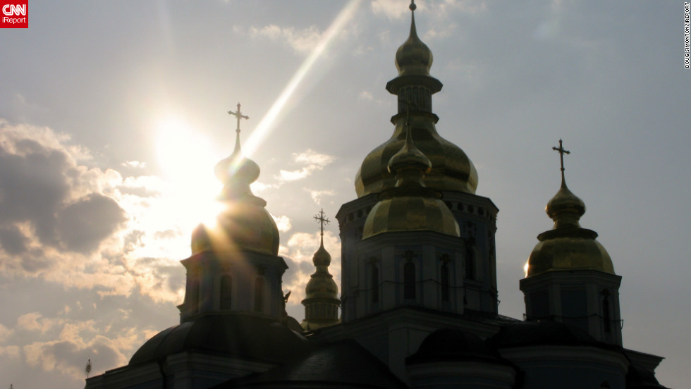 Doug Simonton of Tulsa, Oklahoma captured this image of the sun high above Saint Sophia Cathedral on a trip to Kiev in April 2010. The buildings first foundations were laid in the 11th century and it was the first Ukrainian site to be given UNESCO World Heritage status.
