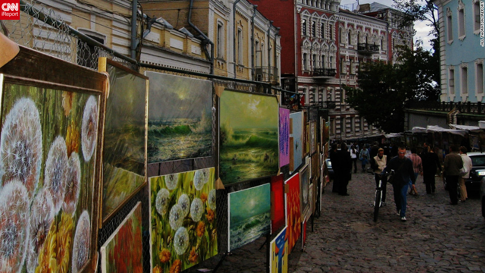 """My trip to the Ukraine was one of the most memorable experiences I've ever had,"" says Jill Thornton of Kailua-Kona, Hawaii. This image captures a selection of local paintings for sale at a Saturday street market in the capital city, Kiev. ""There was so much to look at, and so many things to buy for an affordable price,"" she says."