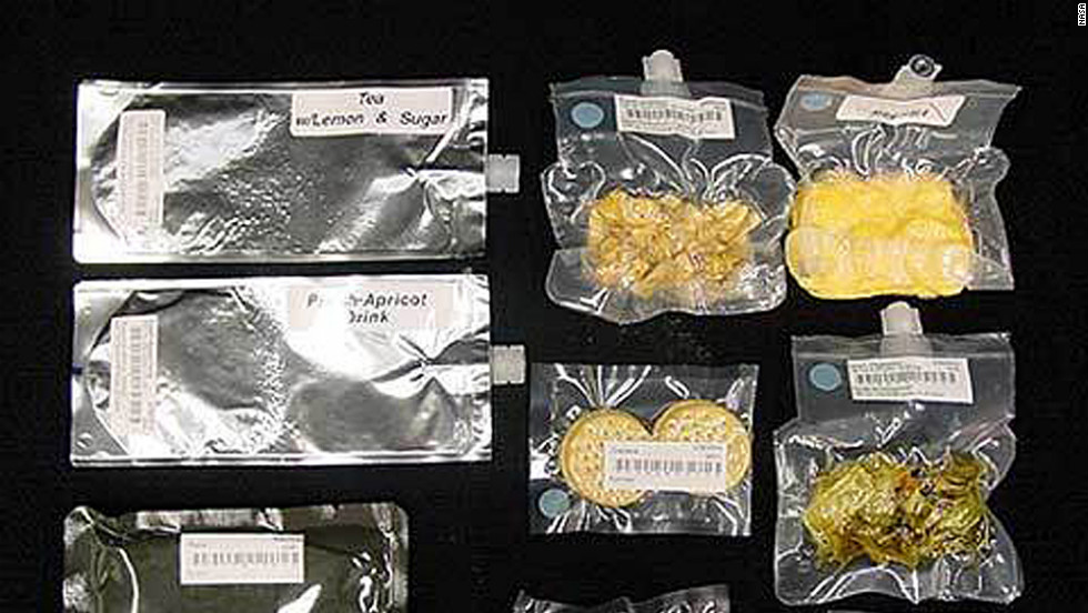 Space rations are generally contained in sealed bags. To drink liquids, astronauts suck directly from the bag.