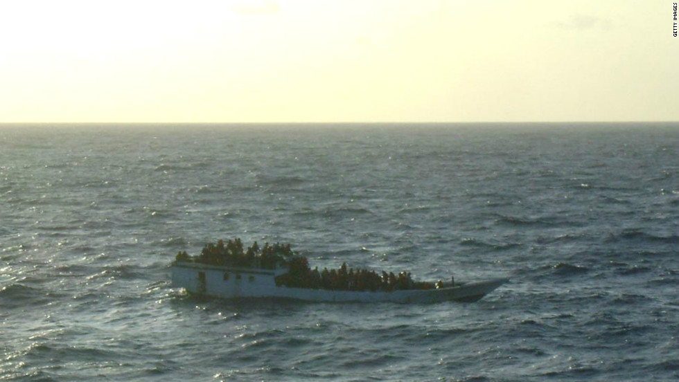 This boat carrying 150 suspected asylum seekers was spotted by Australian authorities prior to its sinking on June 27.