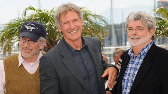 "From left, director Steven Spielberg, Ford and ""Star Wars"" creator George Lucas attend a screening of ""Indiana Jones and the Kingdom of the Crystal Skull"" at the Cannes Film Festival in 2008."