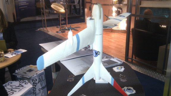 A model of one of the Aerie series of drones, capable of taking off vertically, but flying like a plane.