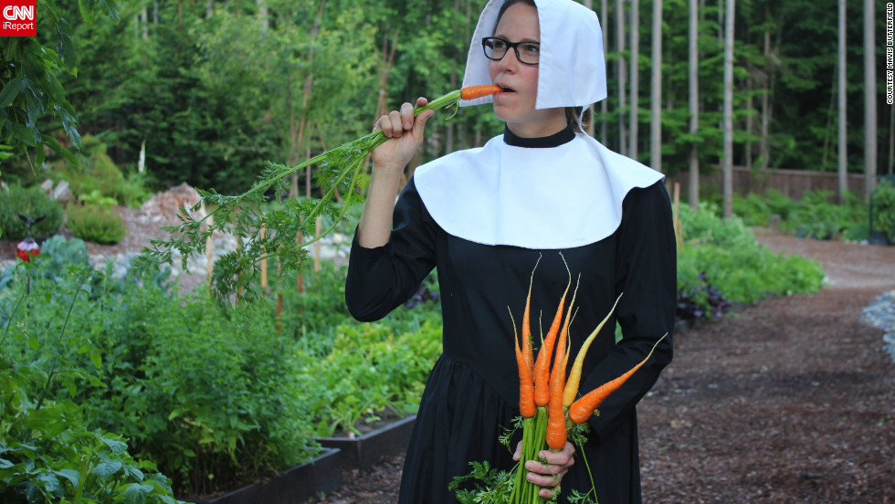 "Mavis Butterfield plans on growing 2,000 pounds of food this year by channeling her inner pilgrim. ""I think it would be a hoot to go back in time and be a pilgrim. I mean, think about it, you'd get to wear the same outfit every day, you'd save a ton of money on beauty products, and mealtime would be a snap because you wouldn't have to get in the car and drive to the store."""