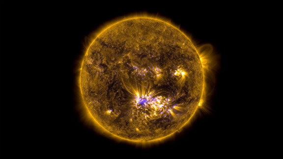 This image combines two sets of observations of the sun on July 12, 2012, from the Solar Dynamics Observatory to give an impression of what the sun looked like shortly before it unleashed an X-class flare.