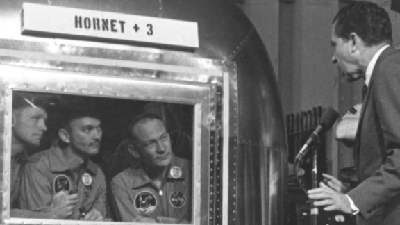 "President Nixon greets Apollo 11 astronauts Neil Armstrong, Michael Collins and ""Buzz"" Aldrin."