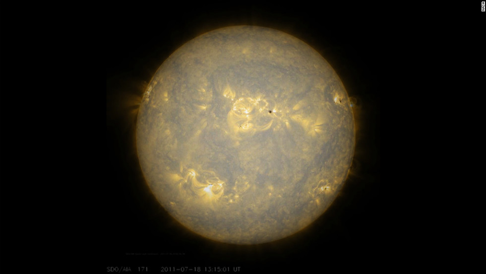Sunspots, which are cooler, darker areas of intense magnetic activity, are most often the source of solar storms. Here, observations of the sun's lower atmosphere in extreme ultraviolet light July 17-18, 2011.