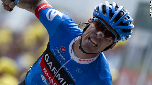 48eb9411d0e15 David Millar shows his delight after winning the 12th stage of the 2012  Tour de France