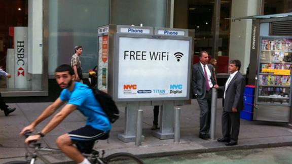 A pilot program is turning New York City pay-phone kiosks into wireless hotspots.