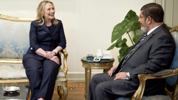 U.S. Secretary of State Hillary Clinton meets with Egyptian President Mohamed Morsy in Cairo on Saturday.