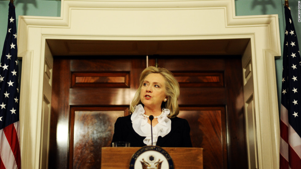 "U.S. Secretary of State Hillary Clinton speaks to the media in Washington on August 18, 2011. Clinton said U.S. sanctions on Syrian oil ""strike at the heart of the Syrian regime."""
