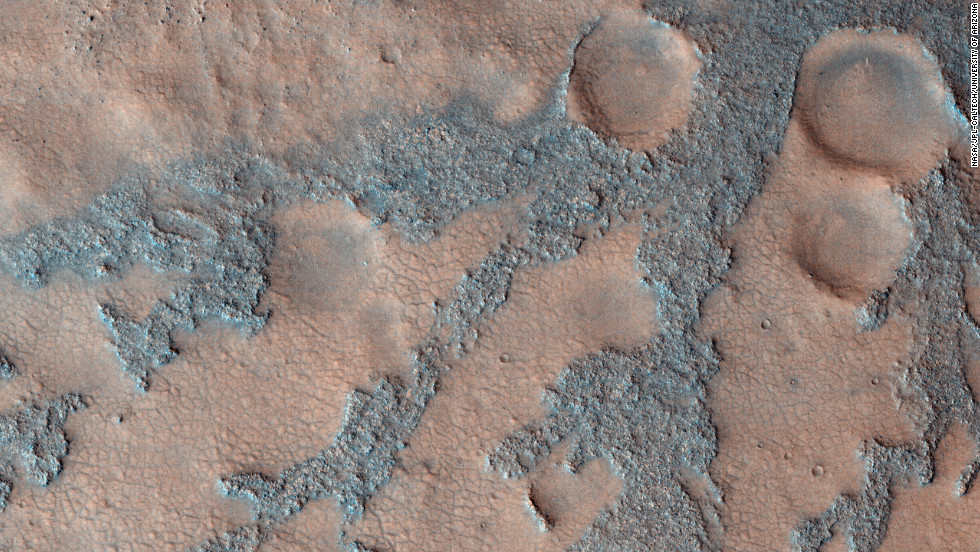 An image from NASA's Mars Reconnaissance Orbiter shows the floor of the Antoniadi Crater in 2009.