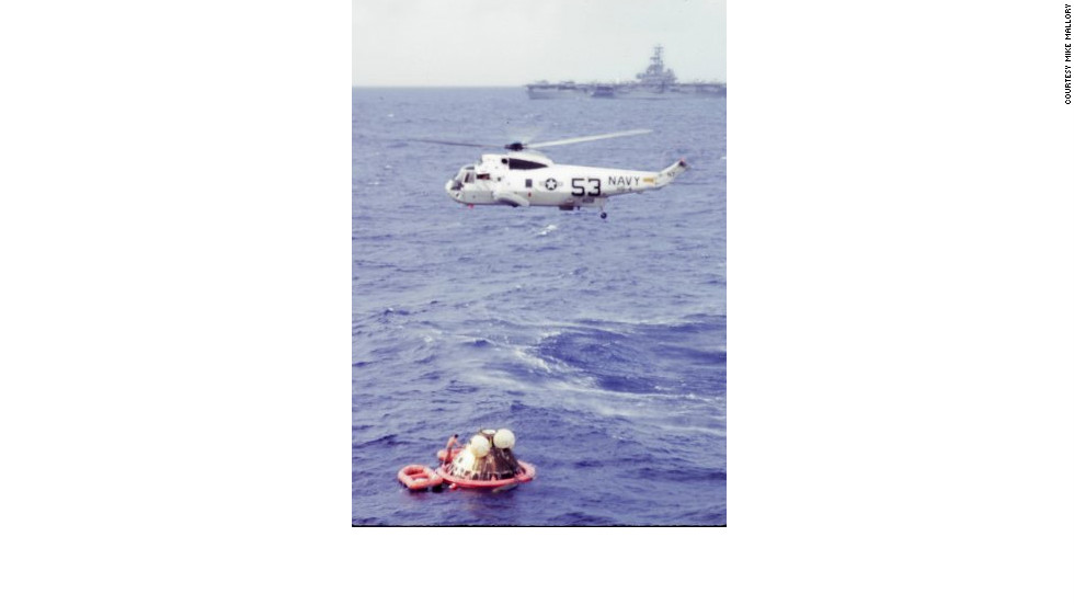 "Astronaut Neil Armstrong was hoisted first into a hovering chopper, then Michael Collins, then Buzz Aldrin. Once aboard, the chopper headed for the USS Hornet. ""There was real delight on those astronauts' faces, and a real thrill of accomplishment,"" says Wolfram."
