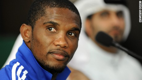 Anzhi Makhachkala's Cameroonian forward Samuel Eto'o holds a press coneference in Dubai on January 12, 2012.