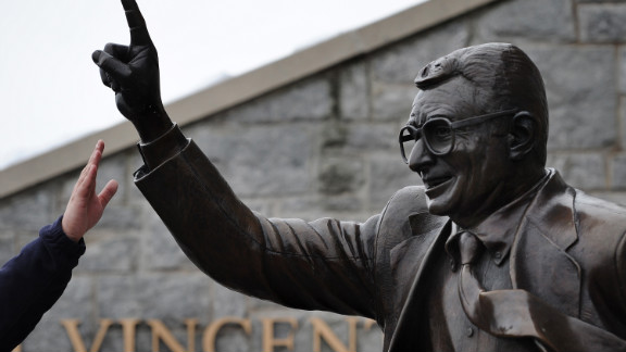 The statue of Joe Paterno outside Beaver Stadium. Penn State is contemplating its removal.