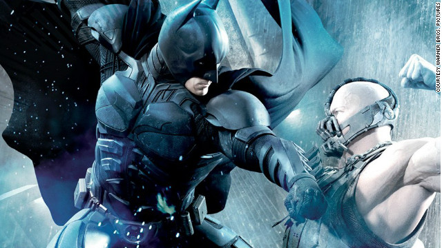 """The Dark Knight Rises"" pits Christian Bale as Bruce Wayne/Batman against Tom Hardy as Bane."