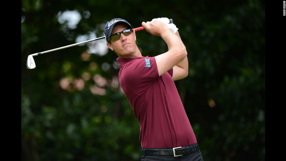 Nicolas Colsaerts of Belgium hits his tee shot on the first hole Thursday.