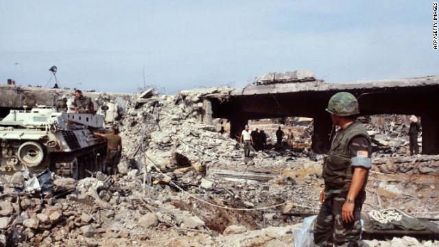 US Marines searching for victims in Beirut eight days after an attack that killed 241 American service members on October 23, 1983.