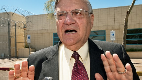 Maricopa County Sheriff Joe Arpaio speaks with a reporter outside city jail in this May 3, 2010.