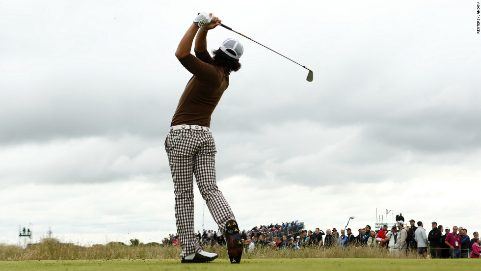 Ryo Ishikawa of Japan tees off on the fifth hole Thursday.