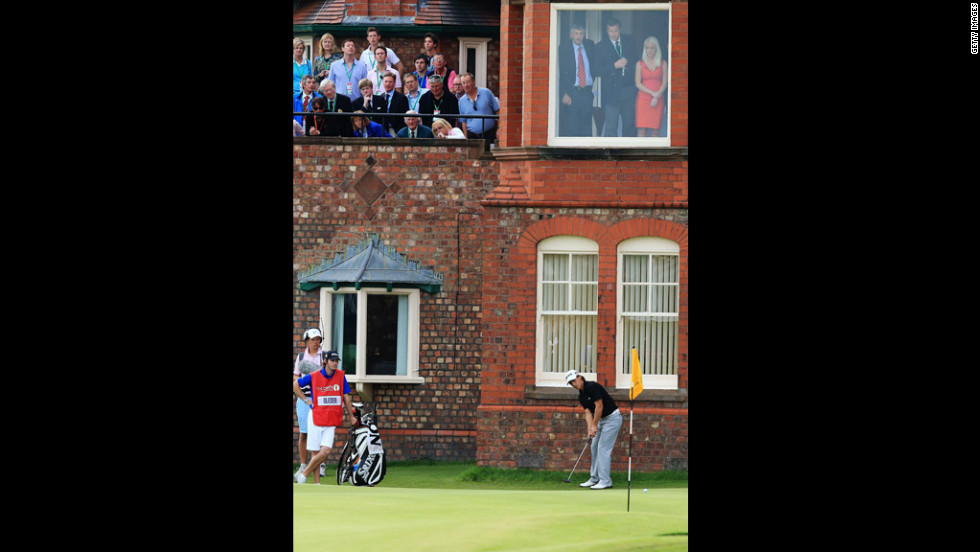 Thorbjorn Olesen of Denmark putts on he 18th green. Olesen is in seventh place heading into the final round at Royal Lytham & St. Annes, which is hosting the Open Championship for the 11th time.