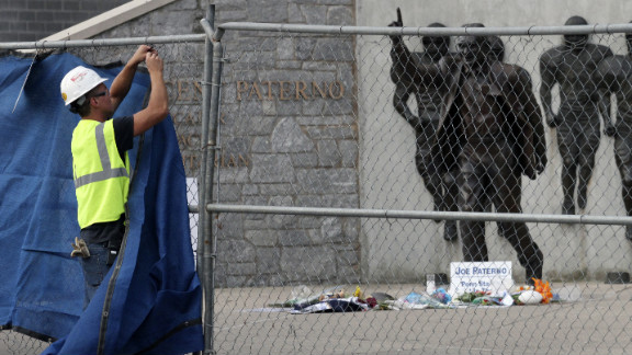 """The 900-pound bronze statue will be stored in a """"secure location"""" in the wake of the Jerry Sandusky scandal, university President Rodney Erickson said."""