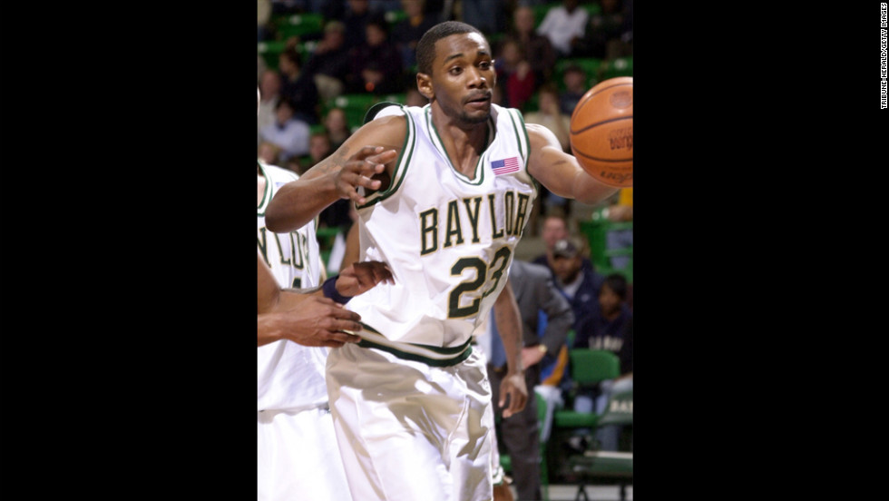 Baylor University basketball player Carlton Dotson reaches for the ball against Montana State in a 2002 game. In June 2003, Baylor's Patrick Dennehy went missing. Dotson confessed to killing him and was sentenced to 35 years in prison. The NCAA later determined that Coach Dave Bliss had instructed his players to lie to investigators and tell them that Dennehy dealt drugs to cover up the coach paying thousands of dollars of Dennehy's tuition. The NCAA put the school on probation until June 2010. It also was banned from playing nonconference games for a season.