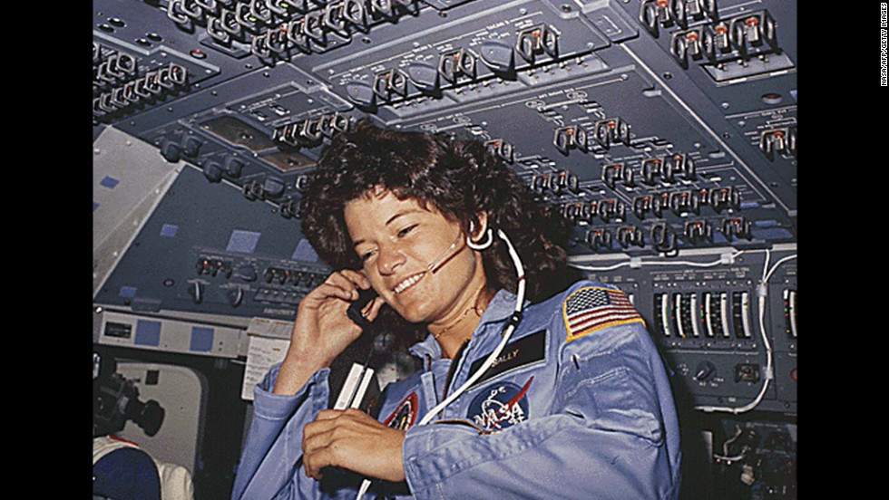 Sally Ride, the first American woman in space, talks with ground control during a six-day mission aboard the space shuttle Challenger in 1983.