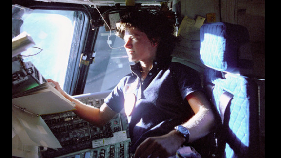 Ride takes her seat aboard the Challenger on June 19, 1983.