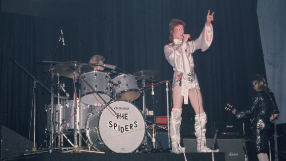 The dependably theatrical David Bowie performs as Ziggy Stardust with the Spiders from Mars.