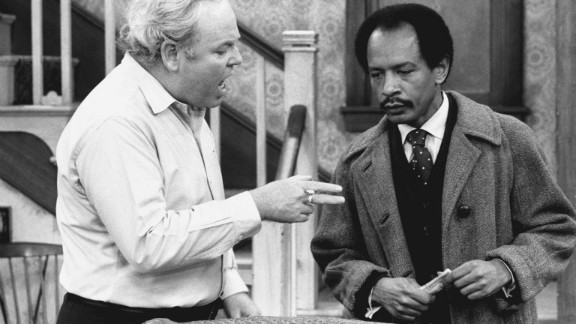 """Carroll O'Connor stars as Archie Bunker and Sherman Hemsley as George Jefferson, in the 'Pay the Twenty Dollars' episode of the CBS television series """"All In The Family."""""""