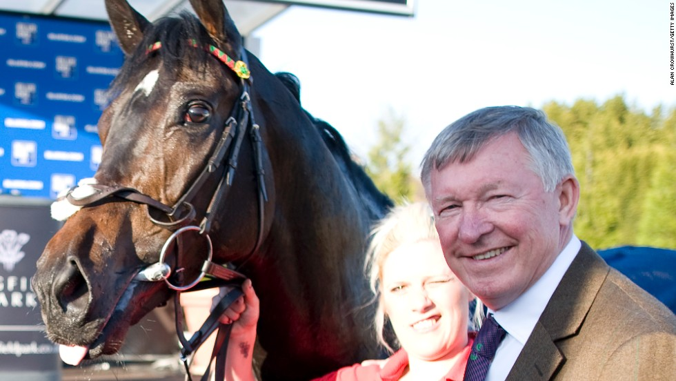 Soccer icon Alex Ferguson is a renowned owner of racehorses. Seen here with latest runner Forgotten Hero, the Manchester United manager was involved in a legal battle with Coolmore stud owner (and then major United shareholder) John Magnier about the stud fees of 2002 European Horse of the Year Rock of Gibraltar. <br />