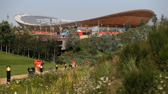 """In the velodrome -- also known as """"The Pringle"""" -- cyclists will race round a track made from sustainably-sourced Siberian pine."""