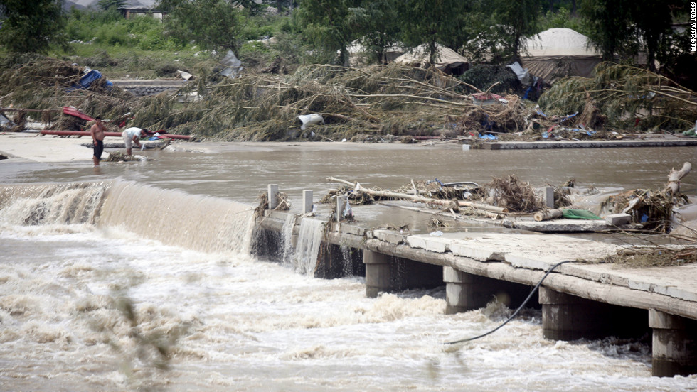 "In 2012, a bridge leading to the town of Laishui, in northern China's Hebei province, just north of capital Beijing, collapsed. Floods in Beijing caused ""significant losses."""