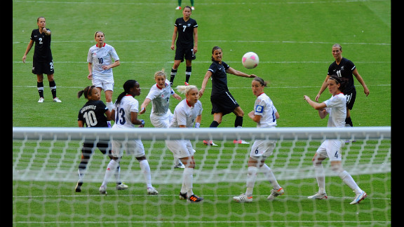 Amber Hearn of New Zealand shoots for a goal.