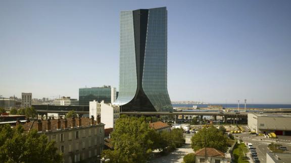 Hadid's unusual skirted tower on the Marseilles coast.