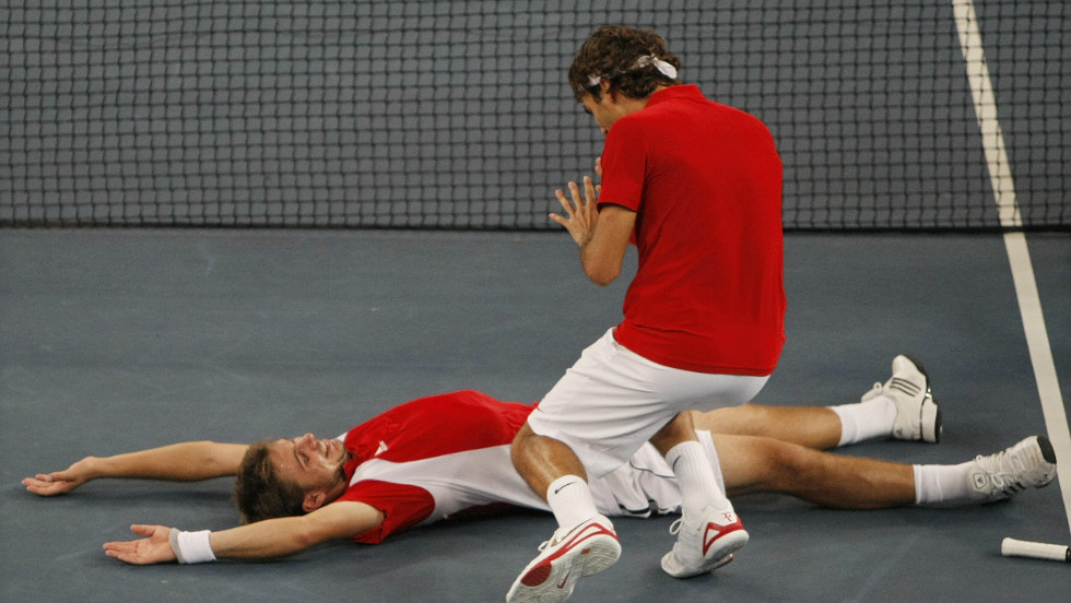 Image result for federer and wawrinka at olympics