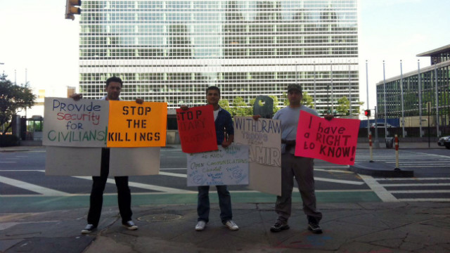 Pamiri people in New York on Wednesday protest the military operations in Tajikistan.