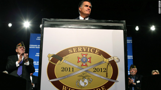 Mitt Romney speaks at the 113th National Convention of the Veterans of Foreign Wars of the U.S. on July 24 in Reno, Nevada.