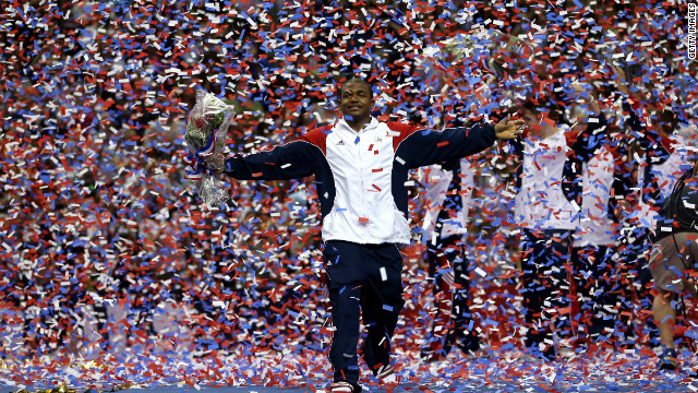 Orozco celebrates after being named to the U.S. Olympics gymnastic team in San Jose, California.
