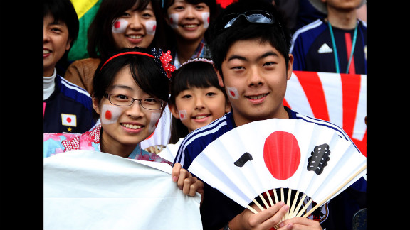 Japanese fans show support for their team during the men