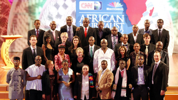 The finalists of the CNN African Journalist Awards 2012 gather on stage.