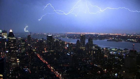 Lightning forks over the New York skyline.