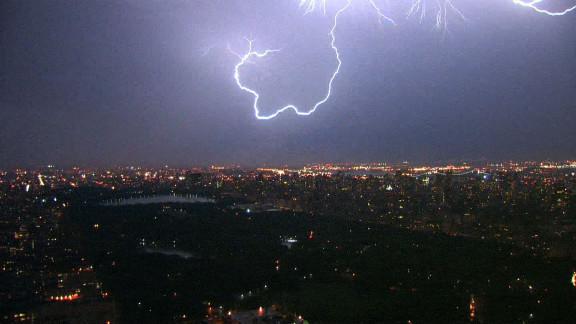 Lightning curls over Central Park.
