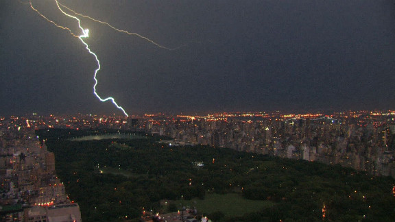 A lightning bolt strikes in New York, lighting up Central Park.
