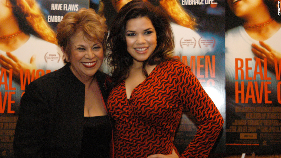 "Ontiveros, left, acted in ""Real Women Have Curves"" with America Ferrera. Here the actresses attend the premiere in New York in2002."