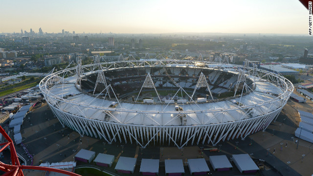 The Olympic Stadium as seen in London Thursday, the eve of the opening ceremony of the London 2012 Olympic Games.